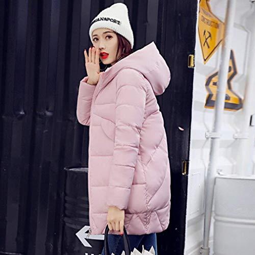 Delanteros Casual Plumas Caliente Retro Manga Elegante Parka Cremallera Con Invierno Capucha Capa Swag Mujer Streetwear Pink Larga Bolsillos Color Sólido Chaqueta qw0Pax