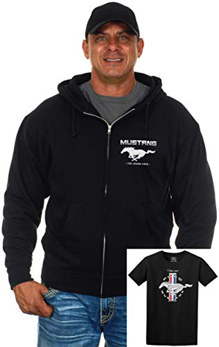 s Ford Mustang Zip-Up Hoodie & T-Shirt Combo Gift Set (X-Large, Black) ()