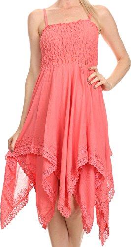 Sakkas 2058 - Ella Smocked Bodice Spaghetti Strap Double Layered Dress - Pink - OS
