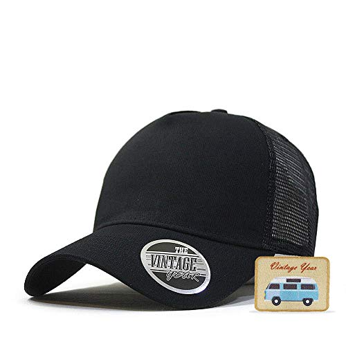 (Vintage Year Plain Cotton Twill Mesh Snapback Trucker Baseball Cap + Free Sew/Iron on Camper Patch (Black B))