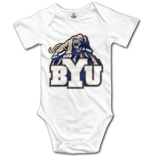 WG T-shirt Brigham Young University BYU The Y Cougars Infant Short-Sleeve Romper Jumpsuit Size 6 M White