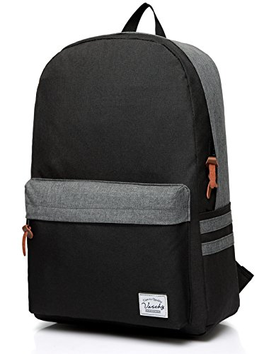 Vaschy Casual Classic Lightweight Daypack Teen School Backpack 15in Laptop Black