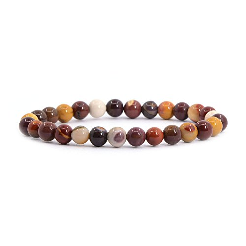 (Natural Mookaite Jasper Gemstone 6mm Round Beads Stretch Bracelet 6.5