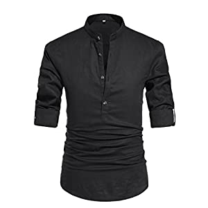 NITAGUT Men Henley Neck Long Sleeve Daily Look Linen Shirts