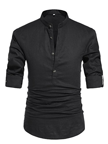 ZYFMAILY Men's Linen Casual Roll-Up Long Sleeve Henley Shirts, Black, US (Black Button Tab)