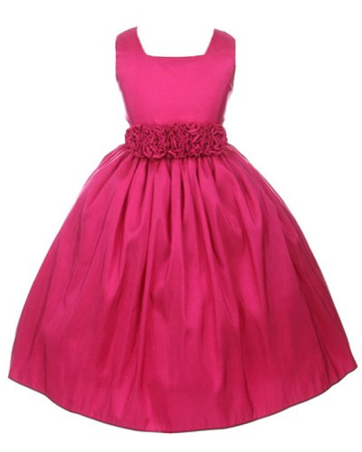 Sweet Kids Girls Sleeveless Flower Girl Dress with Rolled Flower Waistband