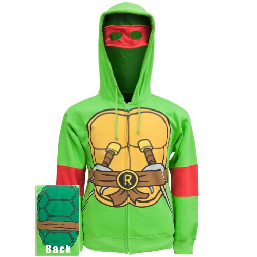 Teenage Mutant Ninja Turtles Raphael Costume Adult Hooded Sweatshirt (Adult Small) - Raphael Hoodie Adult Costumes