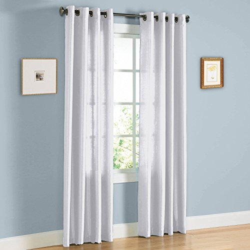 United Linens Samantha-Panel-Wh Set of 2 Window Curtain Faux Silk, 38' x 84', White