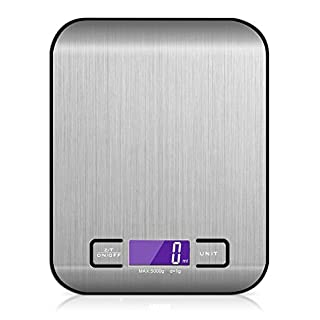 SEADEAR Digital Kitchen Scales,Stainless Steel Food Scales Display,White 5KG Weight Capacity (NO Battery) for Home Cooking + Baking
