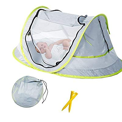 Baby Beach Tent, Portable Baby Travel Bed UPF 50+ Sun Shelters for Infant, Pop Up Mosquito Net with 2 Pegs Sunshade Ultralight Weight