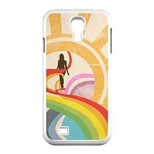 Abstract Rainbow 3 Samsung Galaxy S4 Case, Fashion Case Case for Samsung Galaxy S4 for Men Jumphigh {White}