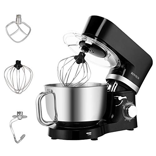 ROVSUN 5.8 Quart Stand Mixer, 660W 6-Speed Electric Tilt-Head Kitchen Food Mixer with Stainless Steel Bowl, Dough Hook, Beater, Whisk (Black)