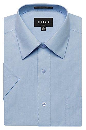 (URBAN K Men's Classic Fit Solid Formal Collar Short Sleeve Dress Shirt, Light Blue, Large 16-16.5 N)