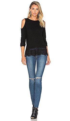 Blooming Jelly Oberseite Frauen-Blusen-kalte Schulter-Blumenspitze-hohle Bluse