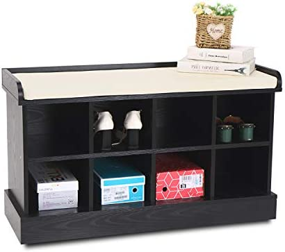 Shoe Storage Bench for Entryway 8 Cubbies Organizer Wood Hallway Bench with Fireproof Cushion Black