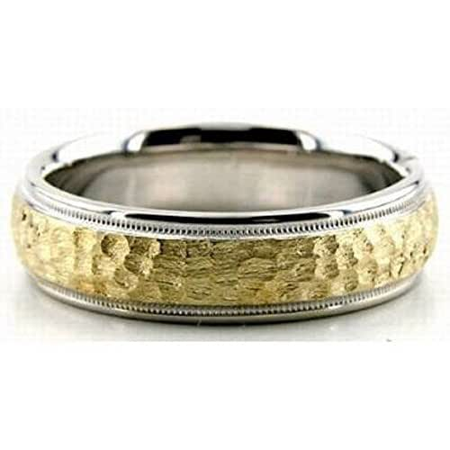 Hammered Finish Bands: Amazon.com: Mens 14K White And Yellow Gold Hammered Finish