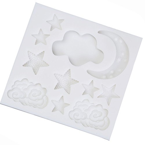 Moon Stars Cake Decoration Silicone Mold Candy Baking Pastry Mold Chocolate Sugar Fondant Cake Mould (Style 2) (Star Chocolate Mold)