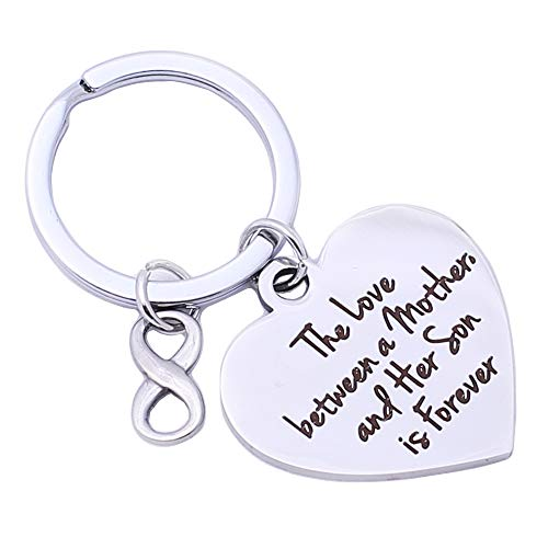Runalp The Love Between a Mother and her Son is Forever .Birthday Gifts for Mom from Son Mothers Gifts Inspirational Keychain