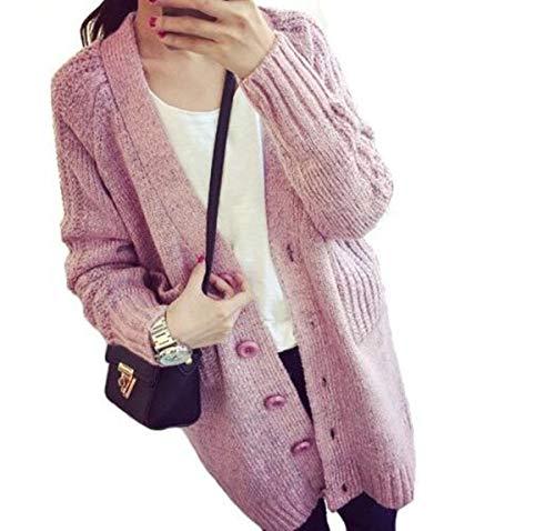 グリット約束する具体的に春秋冬 レディース ファッション  コート ニット カーディガン vネック 大きいサイズ ゆったり かわいい セーター (ピンク)