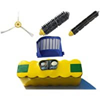 Replacement iRobot Roomba 650 Battery, Filter, Bristle Brush, Flexible Beater Brush and 3-Arm Side Brush - Kit Includes 1 High Capacity Battery, 1 AeroVac Filter, 1 Bristle Brush, 1 Flexible Beater Brush and 1 3-Arm Side Brush