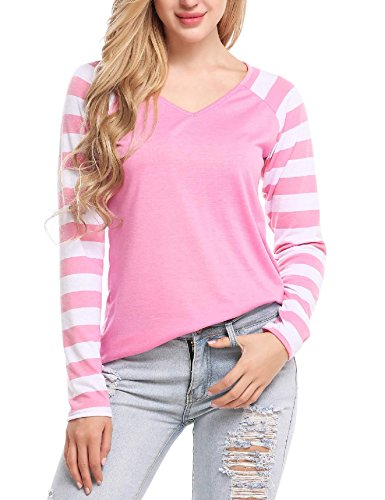 Zeagoo Women Vintage Striped Long Sleeve V Neck Baseball T-Shirt Pink (Striped Vintage Sport Shirt)