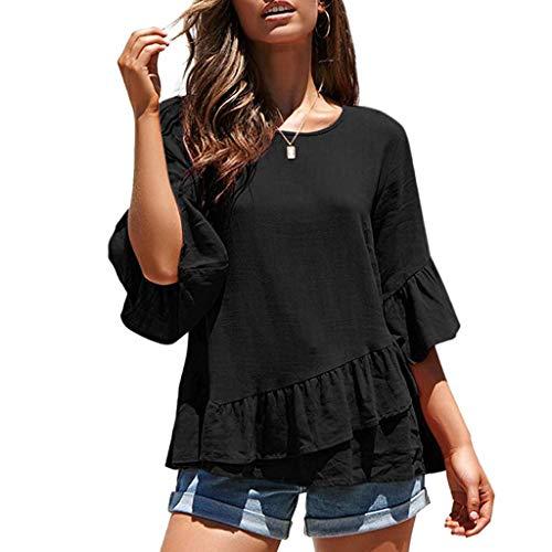 Miuye Womens Tops Casual Half Sleeve Blouse Loose Ruffle Hem Summer T-Shirt Elegant O-Neck Tunic Tee (XL, Black)