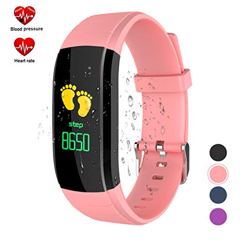 Fitness Tracker with Blood Pressure Monitor,Ouliou Color Screen Activity Tracker with Heart Rate Monitor,Life Waterproof Fit Watch for Kids/Women/Men,Step Counter,Calorie Counter,Sleep Tracker