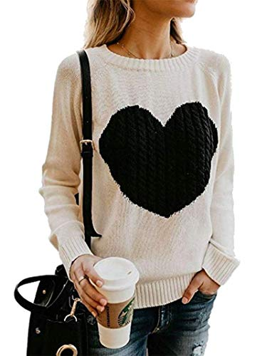 ECHOINE Women Sweaters Pullover Cute Front Heart Scoop Neck Tops Beige S
