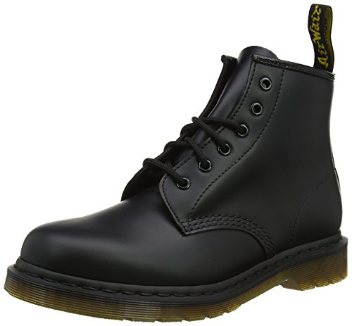 Dr. Martens Unisex-Adult 101 6-Eye Boot (9 UK, Black Smooth)