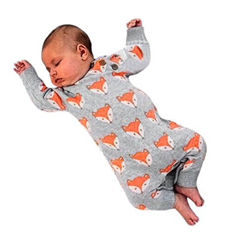 c4e2addb96d6 Goddessvan Newborn Infant Baby Girl Boy Cute Fox Print Warm Romper Jumpsuit  Clothes (Gray
