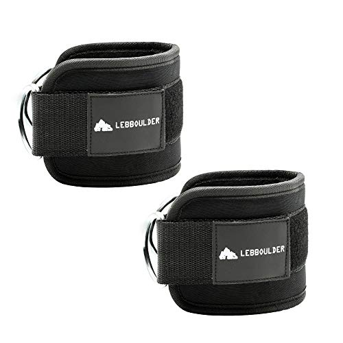 LEBBOULDER Ankle Straps for Use with Standard Cable Machines, Resistance and Functional Trainers, 2 Reinforced D-Rings, Adjustable Neoprene Cuff - Unisex Two Pair Set Black and Pink (Black)