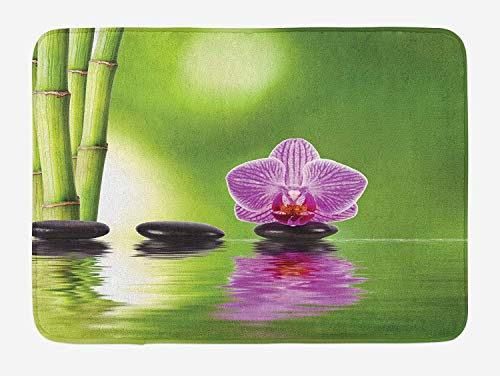 Spa Bath Mat by, Spa Floral Summertime Theme Holidays Exotic Positiveness Lilac Bouquet Corsage, Plush Bathroom Decor Mat with Non Slip Backing, 23.6 W X 15.7 W Inches, Lime Green ()