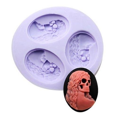 Allforhome(TM) 3 Cavity Mini Skull Silicone Sugar Resin Craft DIY Moulds DIY gum paste flowers Cake Decorating Fondant Mold