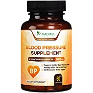 Blood Pressure Supplement Extra Strength Heart Support 685mg - Heart Health Vitamins - Made in USA - Best Natural BP Support Pill with Garlic, Hawthorn & Hibiscus - 60 Capsules