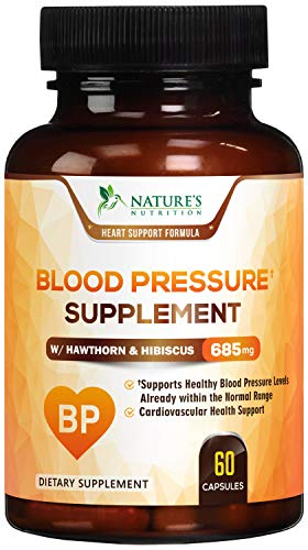 Blood Pressure Supplement Highest Potency Cardiovascular Support 685mg - Heart Health Vitamins - Made in USA - Best Naturally Lowering BP Pill with Garlic, Hawthorn & Hibiscus - 60 Capsules