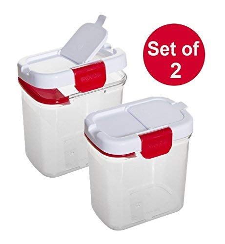 Prep Solutions by Progressive Powdered Sugar Keeper with Built in Leveler 1Qt, Set of 2