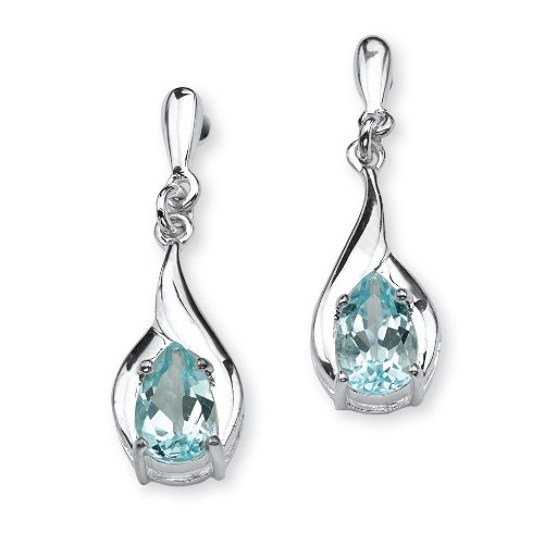 PalmBeach Jewelry 2.20 TCW Pear Cut Blue Genuine Topaz Sterling Silver Drop Earrings