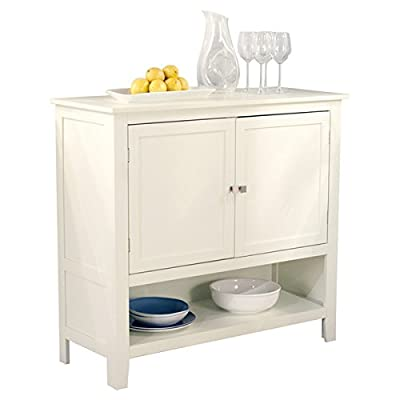 White Wooden Buffet Sideboard with Adjustable Open Shelf Cabinet -  - sideboards-buffets, kitchen-dining-room-furniture, kitchen-dining-room - 41oB1Xz7LCL. SS400  -