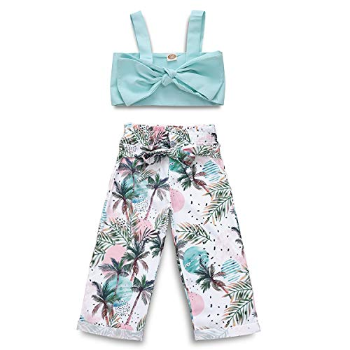 Toddler Girls Summer Straps Bowknot Sleeveless Tube Tops Shirt + Leaf Print Long Pants Outfit Set (Green, 4-5 Years)