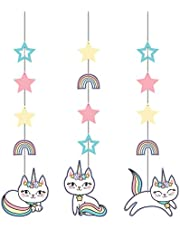 Creative Converting Sassy Caticorn Hanging Cutouts 3-Pieces, 32-Inch Size, Multicolour