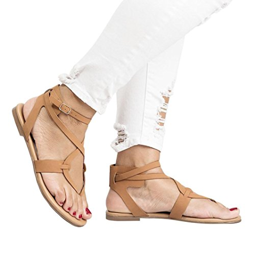 Summer Criss Shoes Flats Flip Flat Women Lace Flop Sandals Cute up Hot Kingfansion Brown Beach Sale Gladiator Girl Cross Strappy dPqYFSfwx