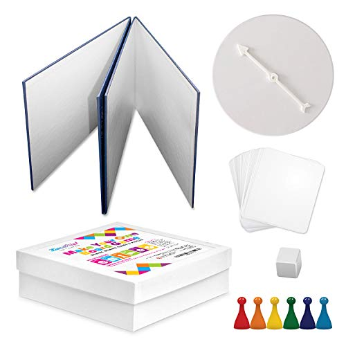 Blank Board Game and Pieces DIY Set - Make Your Own Board Game with Pawns, Cards, Spinner, Dice and Custom Storage Box
