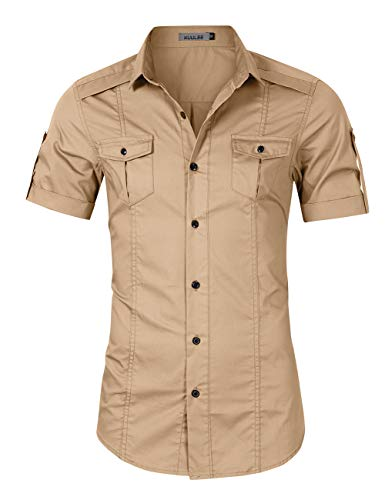 (Kuulee Men's Casual Slim Fit Cargo Shirt Long Sleeve Work Shirt Dress Shirt Tactical Shirt Outdoors (M, Khaki))