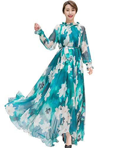 Medeshe Women's Long Sleeve Floral Holiday Beach Bridesmaid Maxi Dress Sundress (Green Lily, XL/XXL)