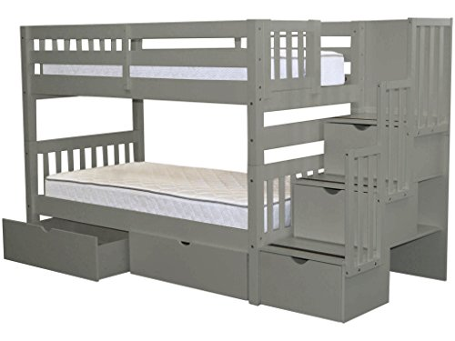 Bedz King Stairway Bunk Beds Twin over Twin with 3 Drawers in the Steps and 2 Under Bed Drawers, Gray (Storage Twins Step)