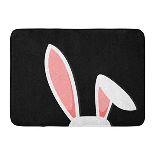 (Kuytresdf Doormats Bath Rugs Outdoor/Indoor Door Mat Pink Cartoon Easter Bunny White Rabbit Ears on Funny Graphic Animal Bathroom Decor Rug 16
