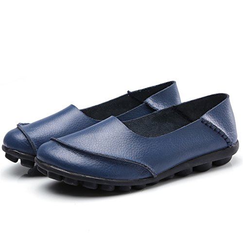 Leather KISFLY B Driving Blue Shoes Slip Flat On Cowhide Casual Women Loafers zqxwrzR6