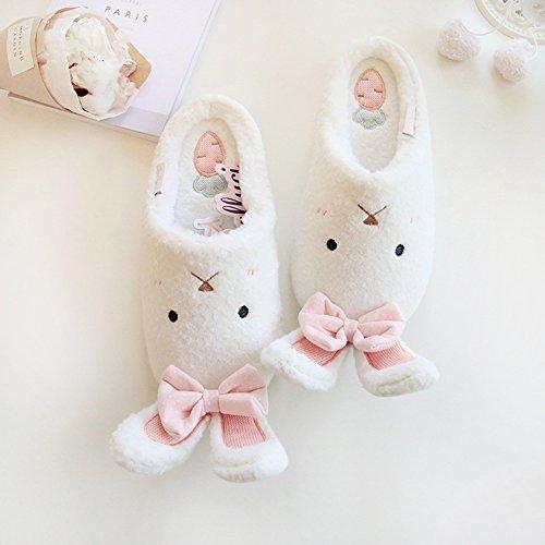 Eastlion Lovely Rabbit Warm Slipper Home Indoor Slippers White XAUwn