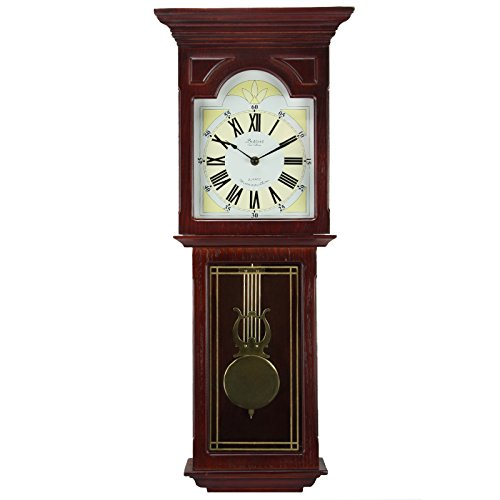 Bedford Clock Collection Redwood 23' Wall Clock with Pendulum and Chime
