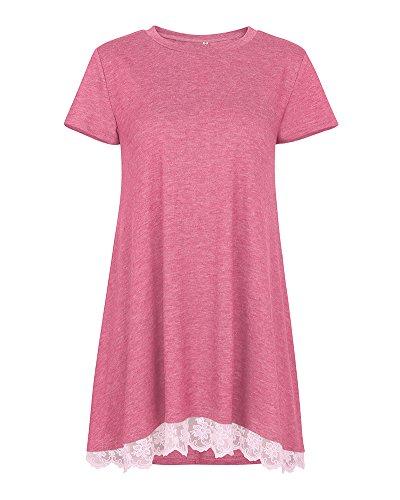 Primavera Corte Casual Ginocchio Vestito Donna line Maniche Rosa Lunga A Maglia Al Shirt T Con Autunno Top Camicia Estate XafwrHaxqB